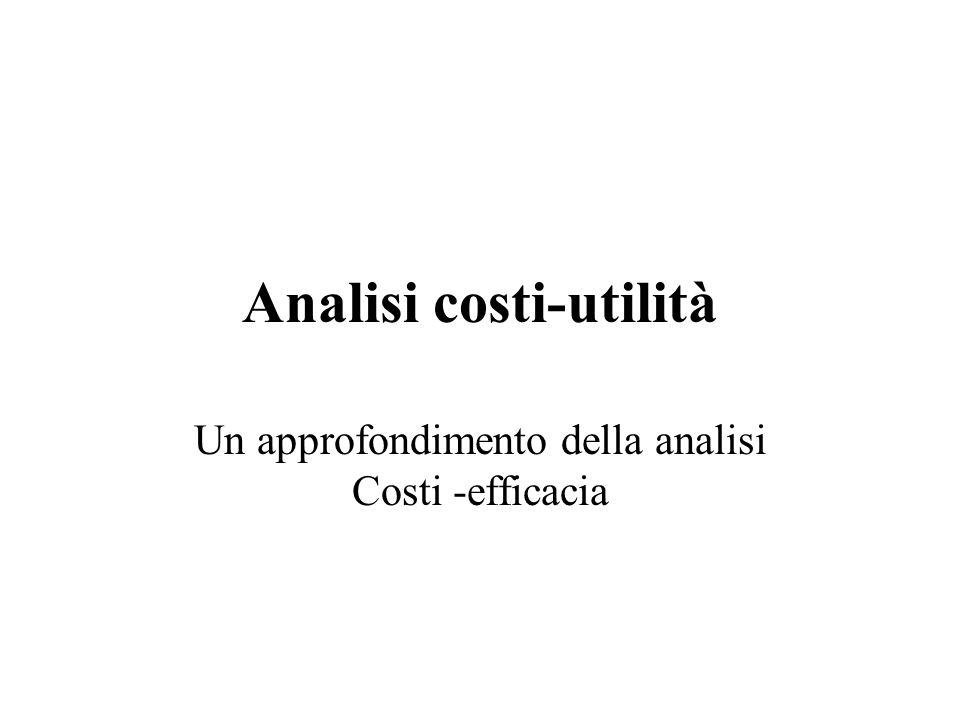 Analisi costi-utilità Un approfondimento della analisi Costi -efficacia