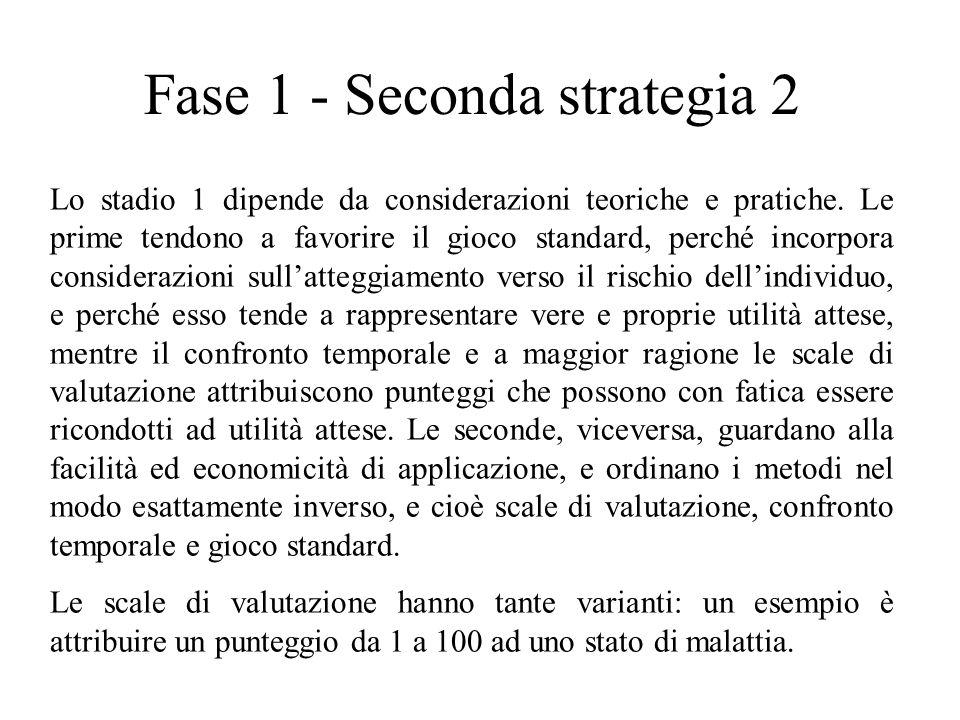 Fase 1 - Seconda strategia 2 Lo stadio 1 dipende da considerazioni teoriche e pratiche. Le prime tendono a favorire il gioco standard, perché incorpor