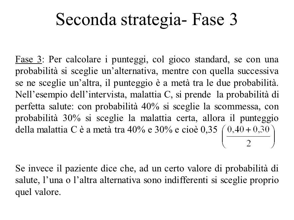 Seconda strategia- Fase 3 Fase 3: Per calcolare i punteggi, col gioco standard, se con una probabilità si sceglie un'alternativa, mentre con quella su
