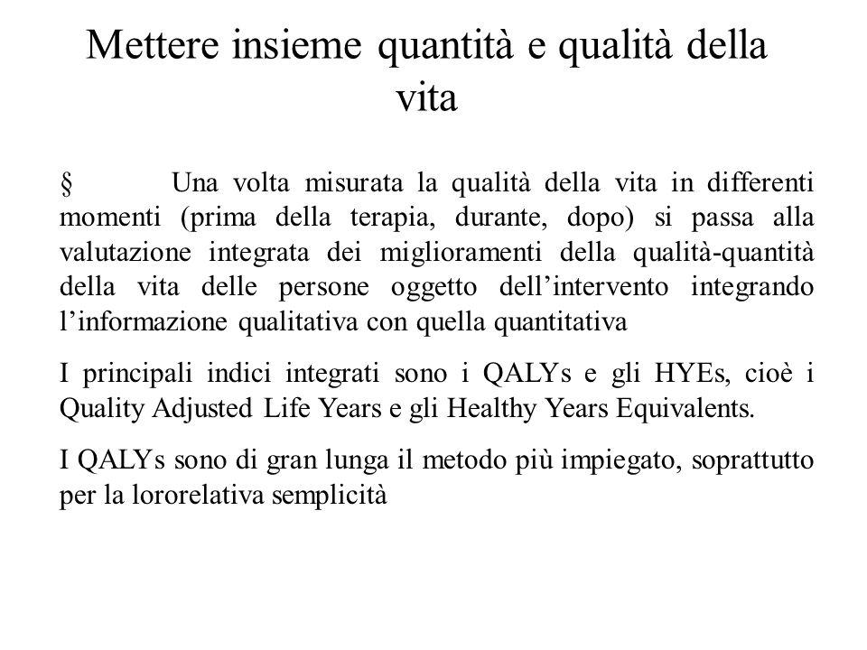 Mettere insieme quantità e qualità della vita § Una volta misurata la qualità della vita in differenti momenti (prima della terapia, durante, dopo) si