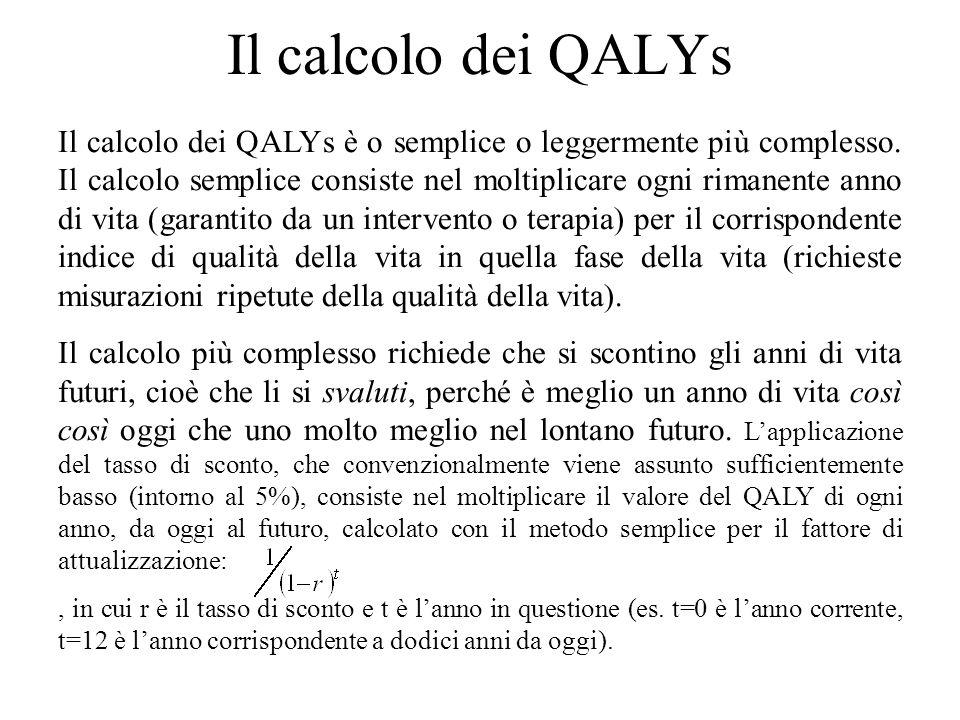 Il calcolo dei QALYs Il calcolo dei QALYs è o semplice o leggermente più complesso. Il calcolo semplice consiste nel moltiplicare ogni rimanente anno