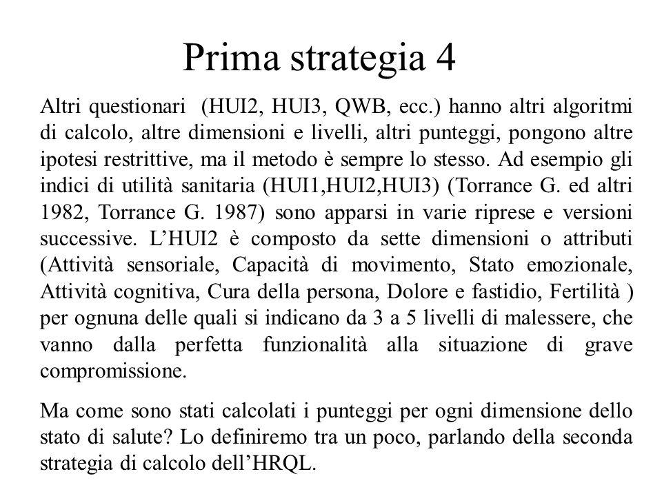 Prima strategia 4 Altri questionari (HUI2, HUI3, QWB, ecc.) hanno altri algoritmi di calcolo, altre dimensioni e livelli, altri punteggi, pongono altr