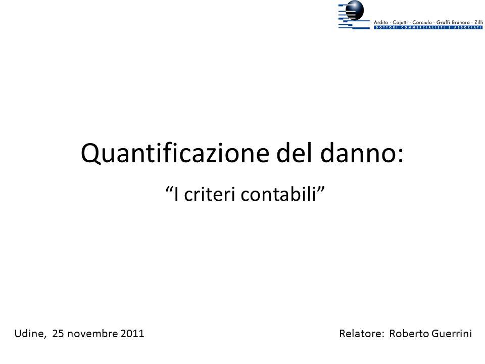 """Quantificazione del danno: """"I criteri contabili"""" Relatore: Roberto GuerriniUdine, 25 novembre 2011"""