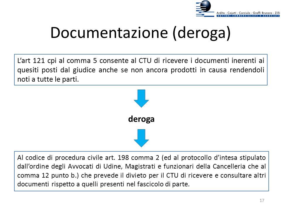 Documentazione (deroga) L'art 121 cpi al comma 5 consente al CTU di ricevere i documenti inerenti ai quesiti posti dal giudice anche se non ancora pro