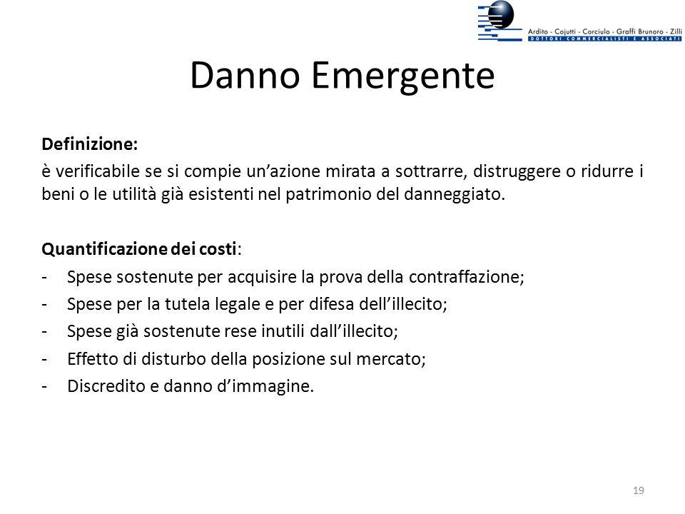 Danno Emergente Definizione: è verificabile se si compie un'azione mirata a sottrarre, distruggere o ridurre i beni o le utilità già esistenti nel pat