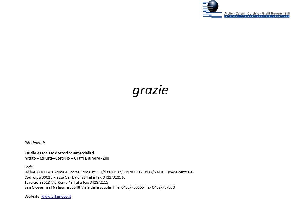 grazie Riferimenti: Studio Associato dottori commercialisti Ardito – Cojutti – Corciulo – Graffi Brunoro - Zilli Sedi: Udine 33100 Via Roma 43 corte R