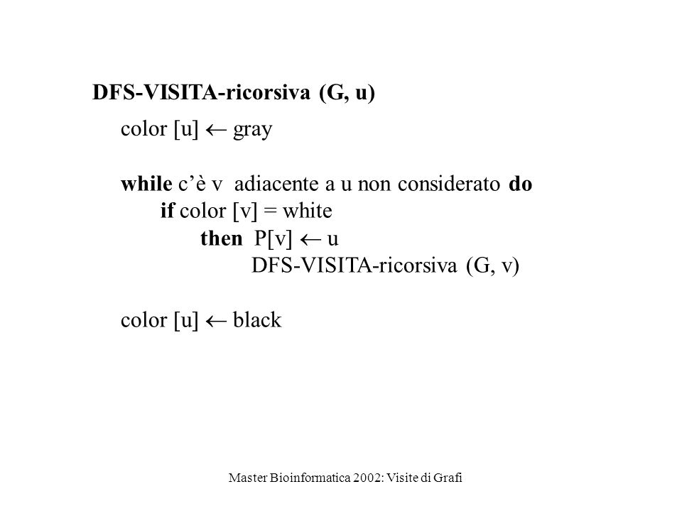Master Bioinformatica 2002: Visite di Grafi DFS-VISITA-ricorsiva (G, u) color  u   gray while c'è v adiacente a u non considerato do if color  v 