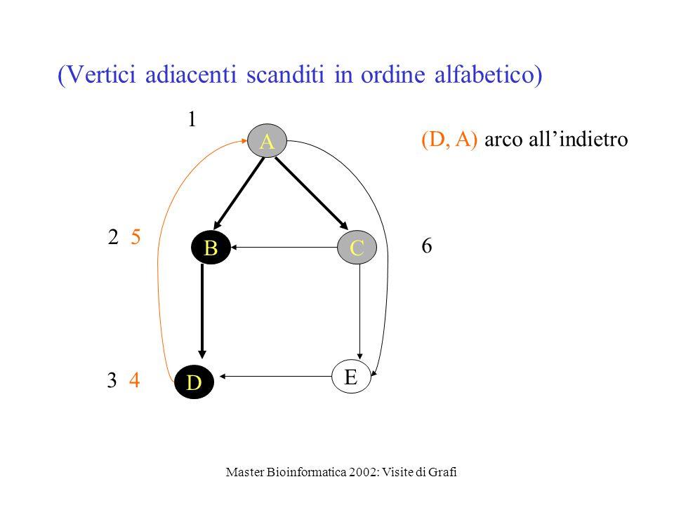 Master Bioinformatica 2002: Visite di Grafi (Vertici adiacenti scanditi in ordine alfabetico) 1 D E BC A 2 5 3 4 (D, A) arco all'indietro 6