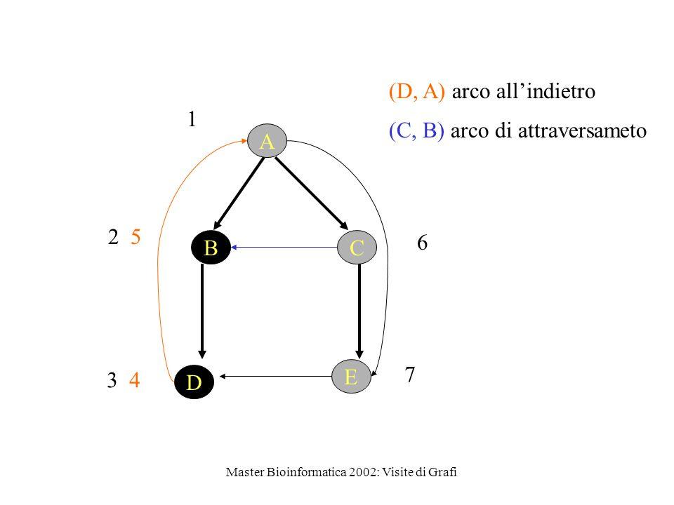 Master Bioinformatica 2002: Visite di Grafi 1 D E BC A 2 5 3 4 (D, A) arco all'indietro 6 7 (C, B) arco di attraversameto