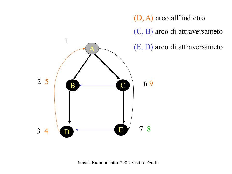 Master Bioinformatica 2002: Visite di Grafi 1 D E BC A 2 5 3 4 (D, A) arco all'indietro 6 9 7 8 (E, D) arco di attraversameto (C, B) arco di attraversameto