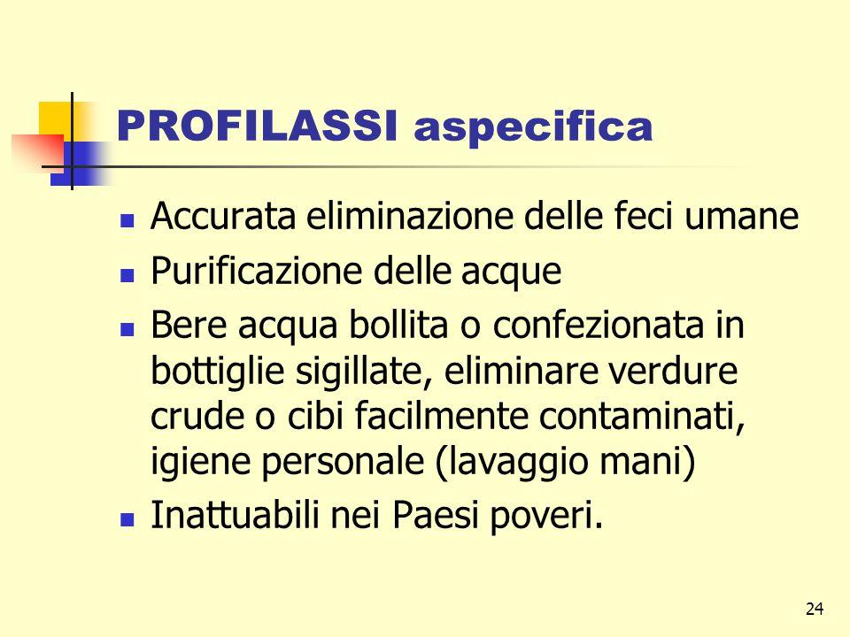 24 PROFILASSI aspecifica Accurata eliminazione delle feci umane Purificazione delle acque Bere acqua bollita o confezionata in bottiglie sigillate, el