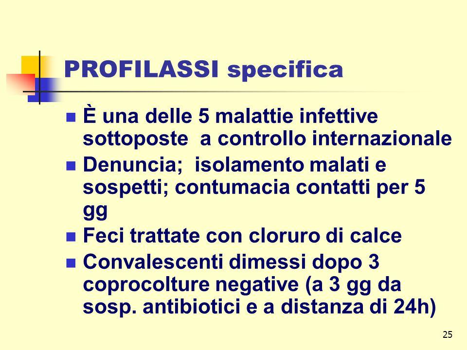 25 PROFILASSI specifica È una delle 5 malattie infettive sottoposte a controllo internazionale Denuncia; isolamento malati e sospetti; contumacia contatti per 5 gg Feci trattate con cloruro di calce Convalescenti dimessi dopo 3 coprocolture negative (a 3 gg da sosp.