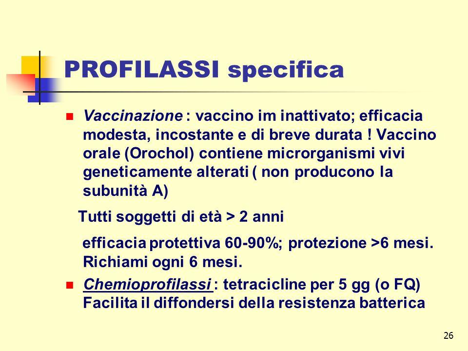 26 PROFILASSI specifica Vaccinazione : vaccino im inattivato; efficacia modesta, incostante e di breve durata .