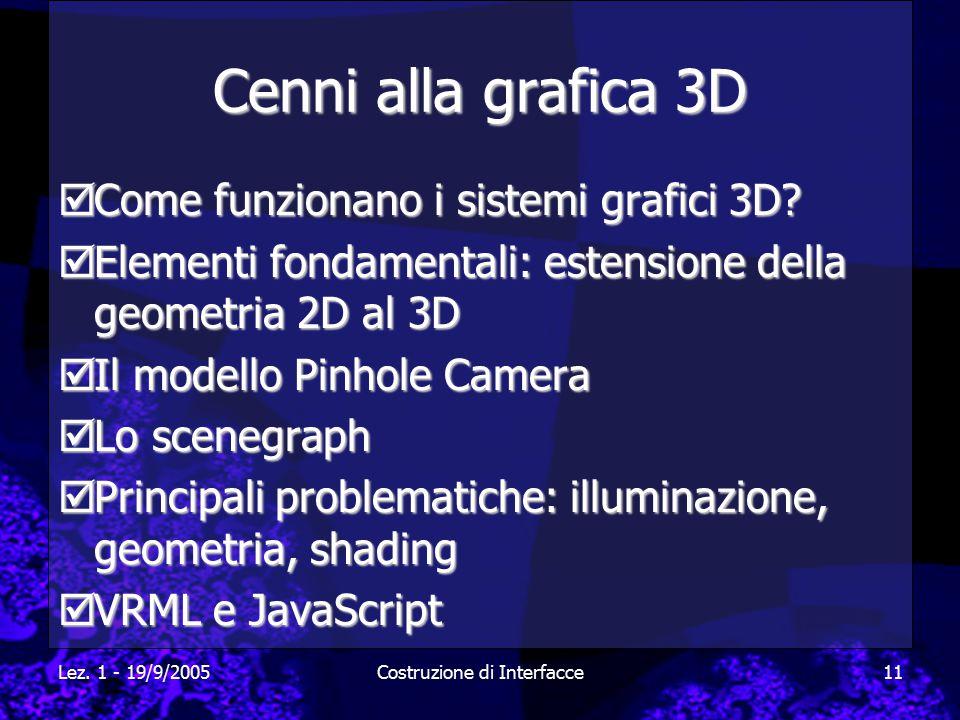 Lez. 1 - 19/9/2005Costruzione di Interfacce11 Cenni alla grafica 3D  Come funzionano i sistemi grafici 3D?  Elementi fondamentali: estensione della