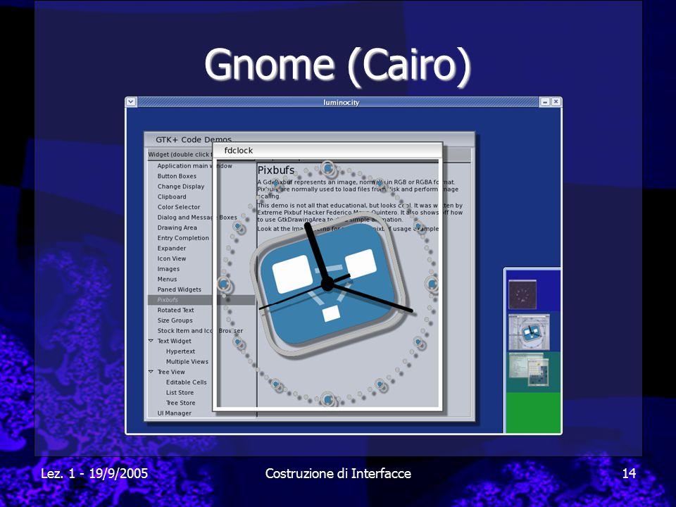 Lez. 1 - 19/9/2005Costruzione di Interfacce14 Gnome (Cairo)