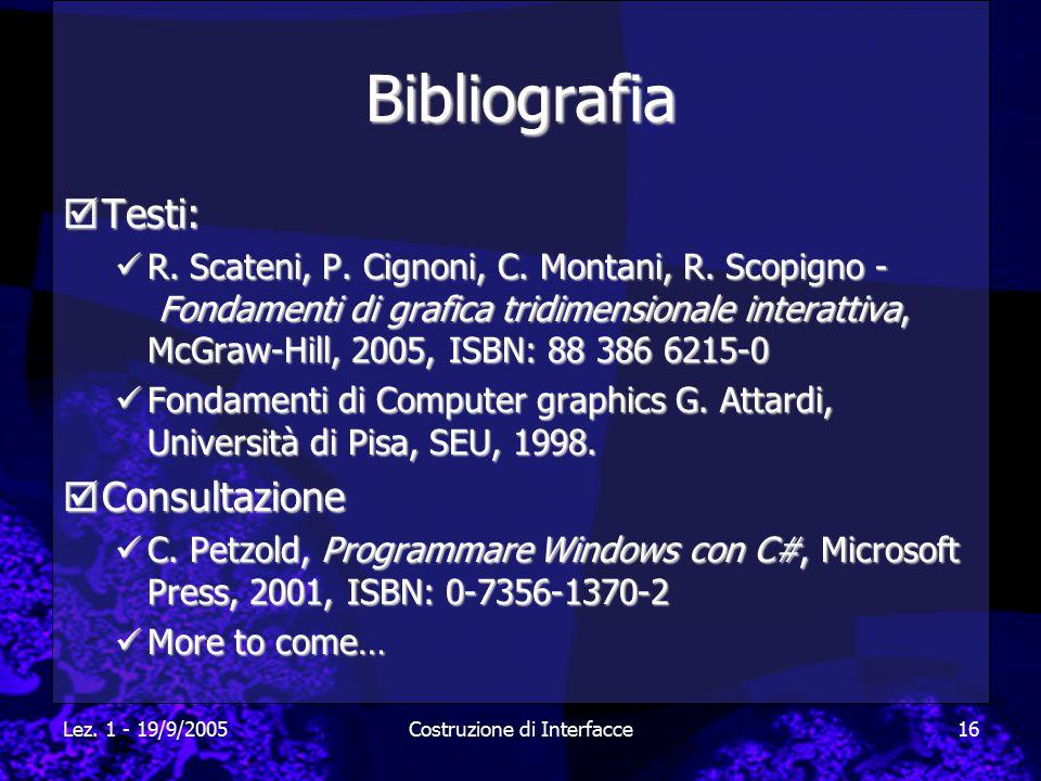 Lez. 1 - 19/9/2005Costruzione di Interfacce16 Bibliografia  Testi: R. Scateni, P. Cignoni, C. Montani, R. Scopigno - Fondamenti di grafica tridimensi