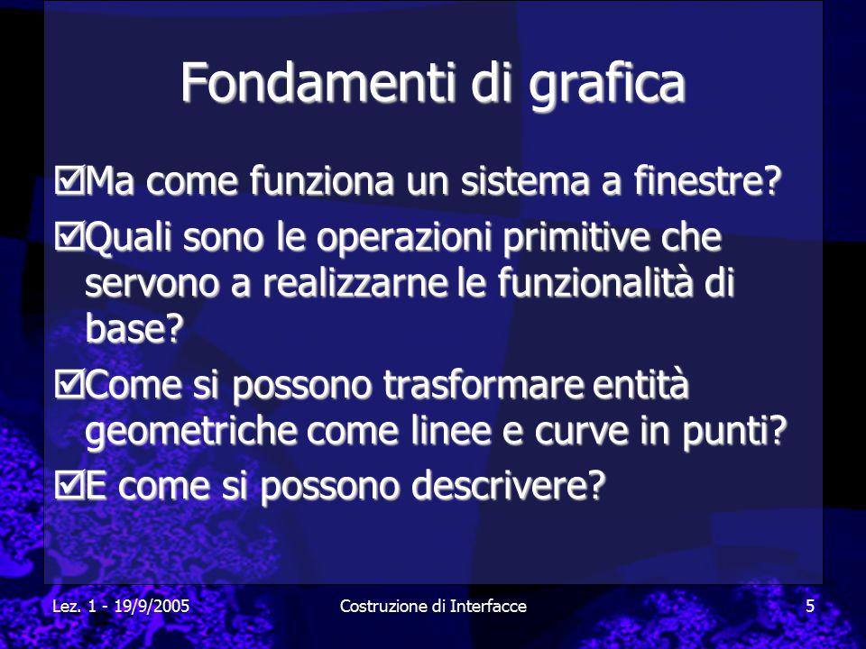 Lez. 1 - 19/9/2005Costruzione di Interfacce5 Fondamenti di grafica  Ma come funziona un sistema a finestre?  Quali sono le operazioni primitive che