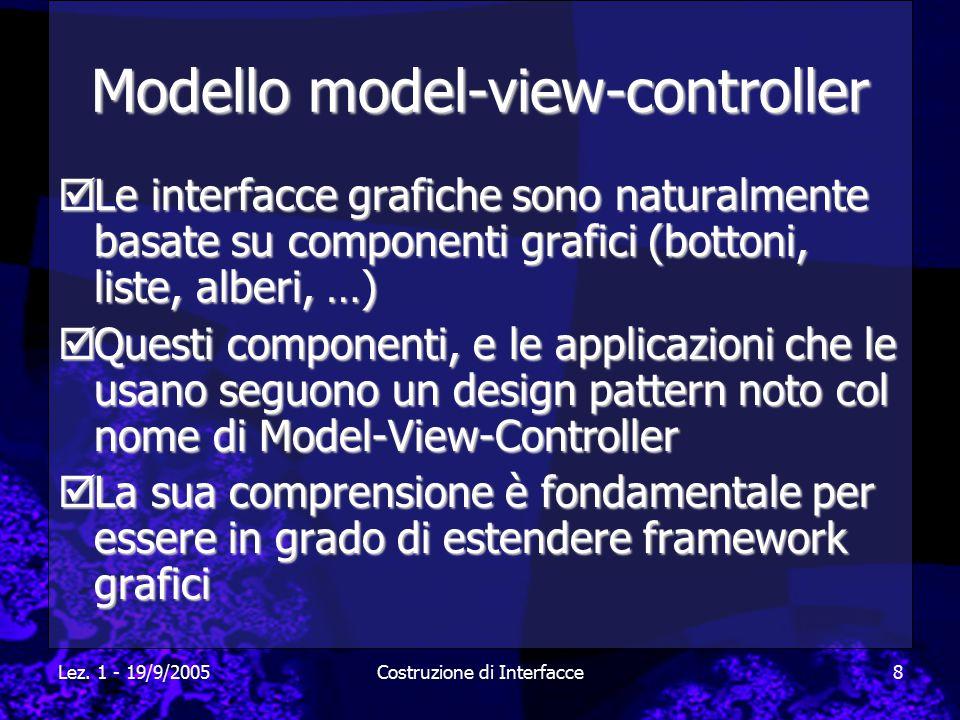 Lez. 1 - 19/9/2005Costruzione di Interfacce8 Modello model-view-controller  Le interfacce grafiche sono naturalmente basate su componenti grafici (bo