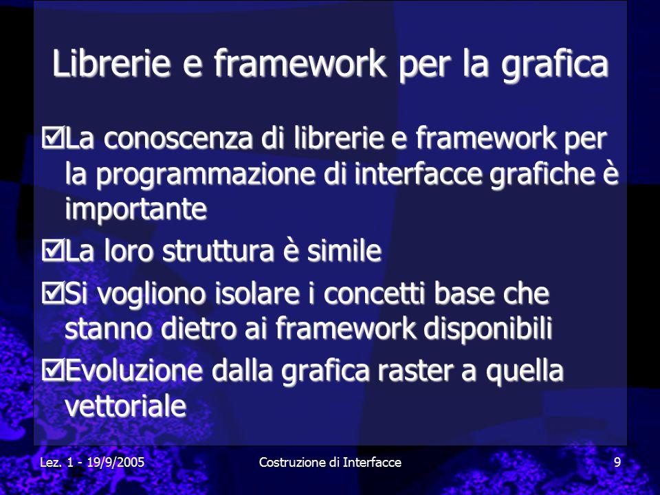 Lez. 1 - 19/9/2005Costruzione di Interfacce9 Librerie e framework per la grafica  La conoscenza di librerie e framework per la programmazione di inte