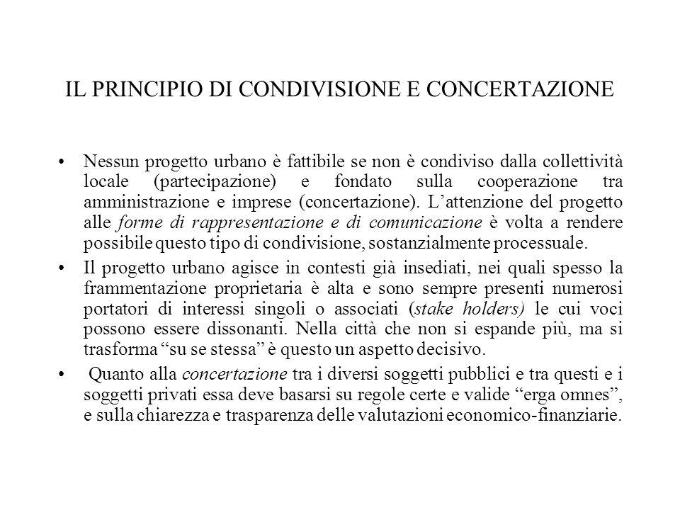 IL PRINCIPIO DI CONDIVISIONE E CONCERTAZIONE Nessun progetto urbano è fattibile se non è condiviso dalla collettività locale (partecipazione) e fondato sulla cooperazione tra amministrazione e imprese (concertazione).