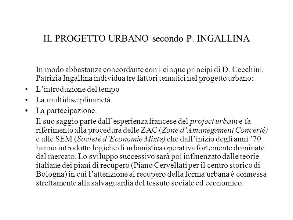 IL PROGETTO URBANO secondo P.INGALLINA In modo abbastanza concordante con i cinque principi di D.