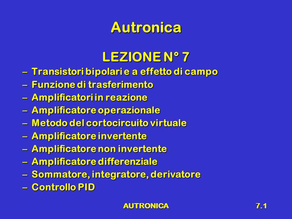AUTRONICA7.1 Autronica LEZIONE N° 7 –Transistori bipolari e a effetto di campo –Funzione di trasferimento –Amplificatori in reazione –Amplificatore operazionale –Metodo del cortocircuito virtuale –Amplificatore invertente –Amplificatore non invertente –Amplificatore differenziale –Sommatore, integratore, derivatore –Controllo PID