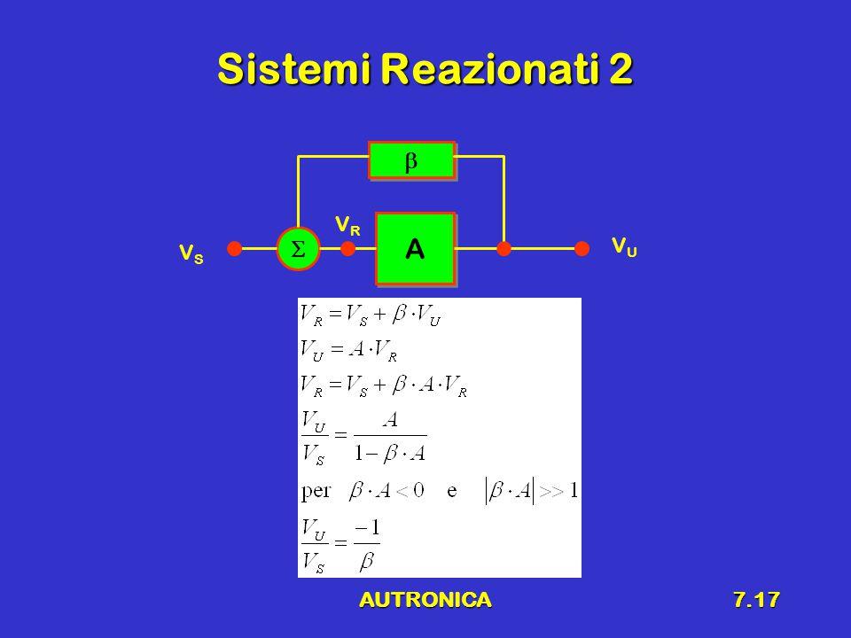AUTRONICA7.17 Sistemi Reazionati 2 A A    VSVS VRVR VUVU