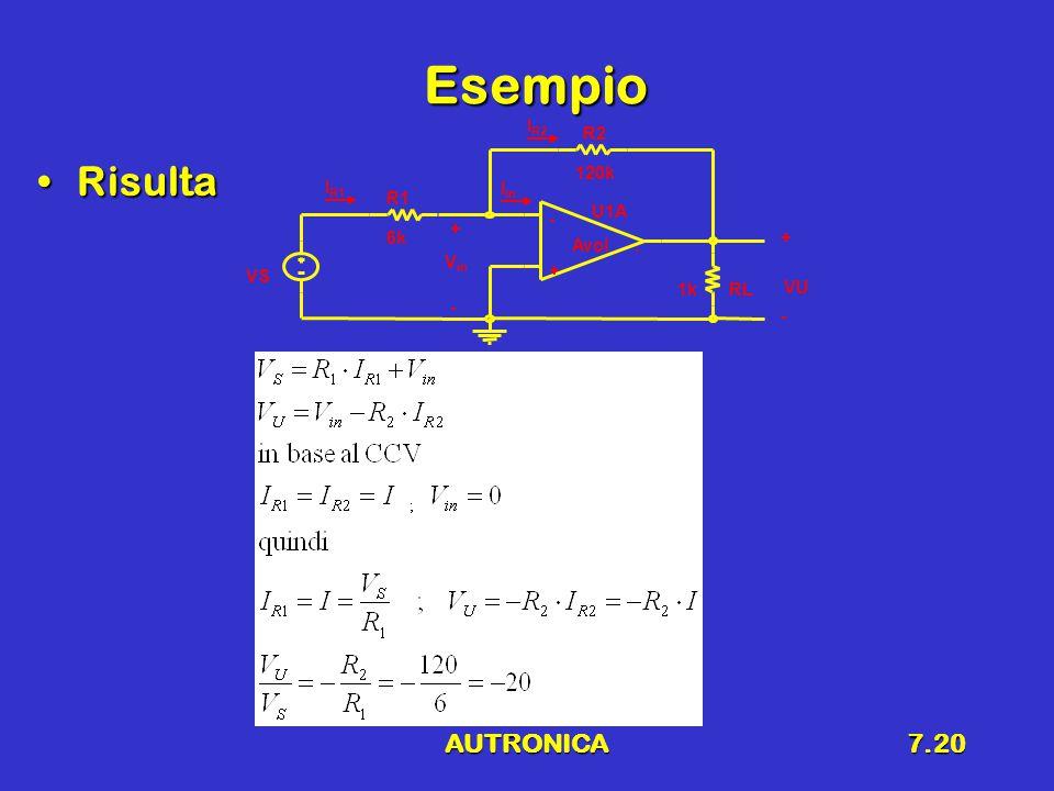 AUTRONICA7.20 Esempio RisultaRisulta U1A - + Avol.