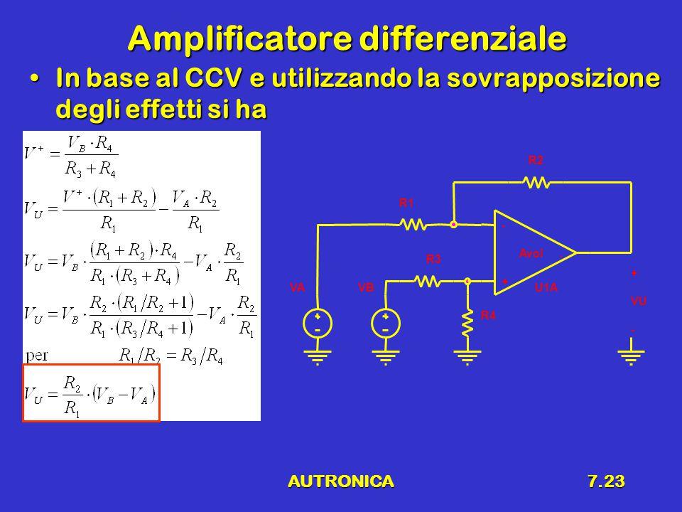 AUTRONICA7.23 Amplificatore differenziale In base al CCV e utilizzando la sovrapposizione degli effetti si haIn base al CCV e utilizzando la sovrapposizione degli effetti si ha