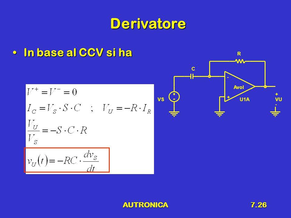 AUTRONICA7.26 Derivatore In base al CCV si haIn base al CCV si ha VSU1A - + Avol. R C VU + -