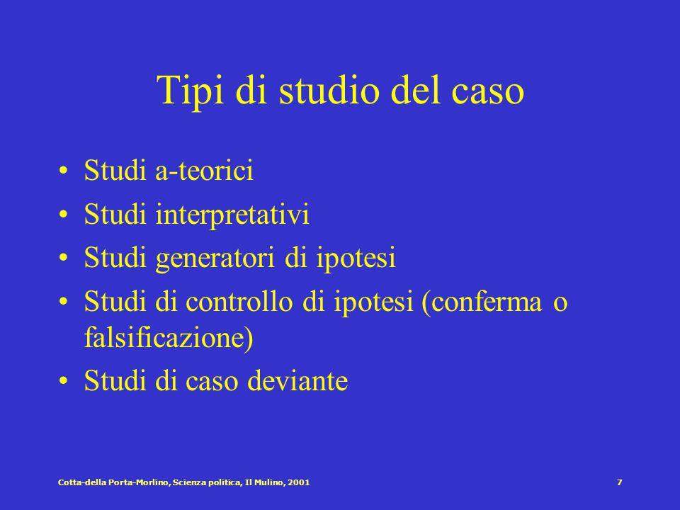 Cotta-della Porta-Morlino, Scienza politica, Il Mulino, 20016 I metodi di controllo per la verifica delle ipotesi statistica, metodo sperimentale, com