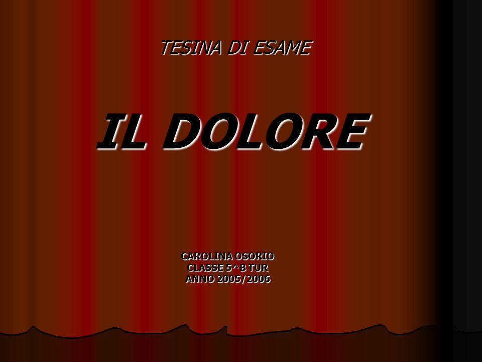 TESINA DI ESAME IL DOLORE CAROLINA OSORIO CLASSE 5^B TUR ANNO 2005/2006