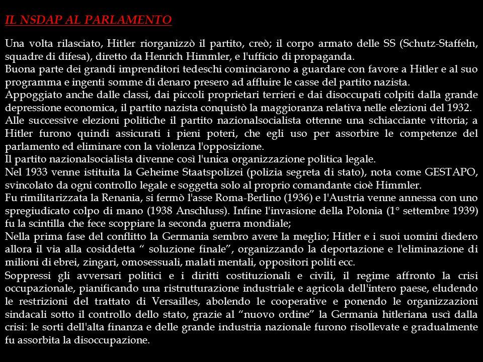 """1- L'IDEOLOGIA NAZISTA Il tentativo fallì e Hitler fu condannato a cinque anni di carcere. Durante la detenzione scrisse la prima parte di """"Mein Kampf"""