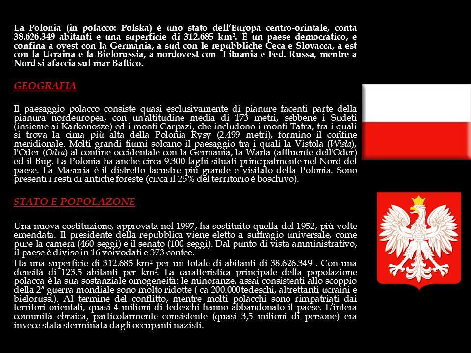 Superficie: 312.685 km² Abitanti: 38.626.349 Densità: 124 ab/Km² Forma di governo: Repubblica parlamentare Capitale: Varsavia (2.220.000 ab.) Città pr