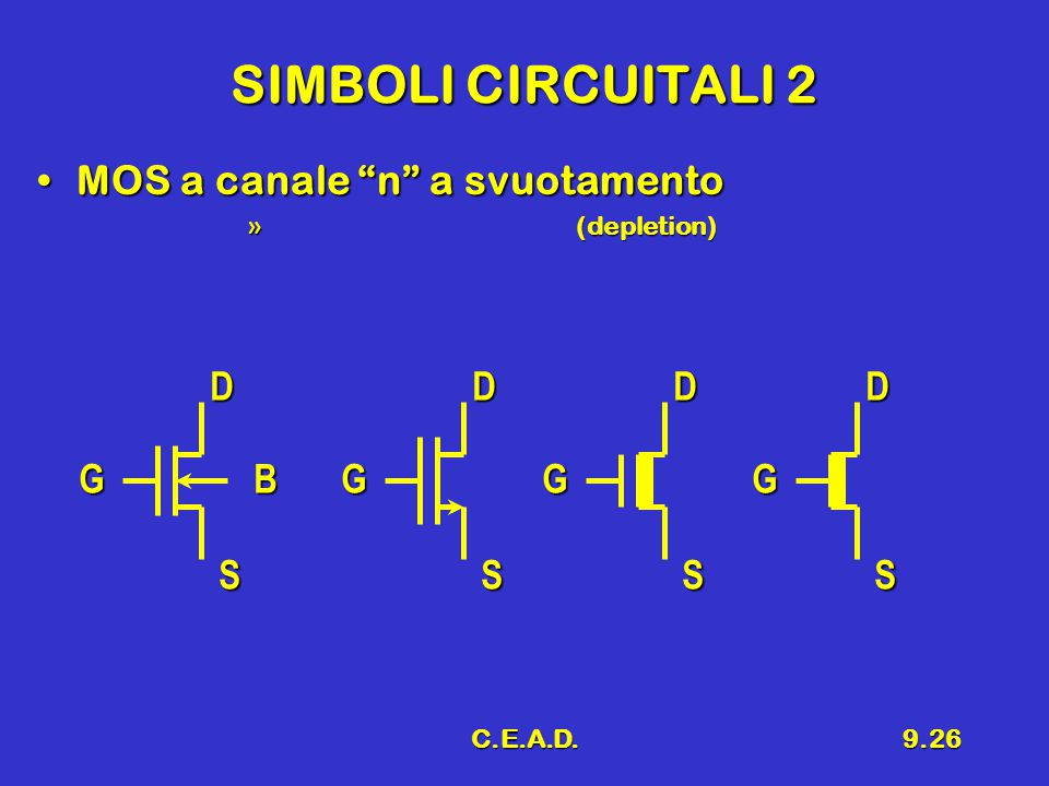 "C.E.A.D.9.26 SIMBOLI CIRCUITALI 2 MOS a canale ""n"" a svuotamentoMOS a canale ""n"" a svuotamento » (depletion) G D S BG D S G D S G D S"
