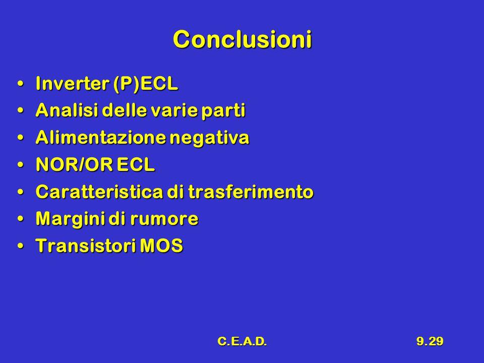 C.E.A.D.9.29 Conclusioni Inverter (P)ECLInverter (P)ECL Analisi delle varie partiAnalisi delle varie parti Alimentazione negativaAlimentazione negativ
