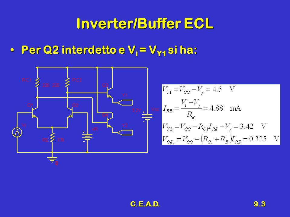 C.E.A.D.9.4 Osservazioni L'introduzione di Q 3 e Q 4 è dovuta alla necessità di poter pilotare carichi bi basso valore (adattamento d'impedenza a 50  )L'introduzione di Q 3 e Q 4 è dovuta alla necessità di poter pilotare carichi bi basso valore (adattamento d'impedenza a 50  ) La saturazione è evitataLa saturazione è evitata Il segnale d'ingresso può variare fra il valore massimo V Y1 e quello minimo V Y2Il segnale d'ingresso può variare fra il valore massimo V Y1 e quello minimo V Y2