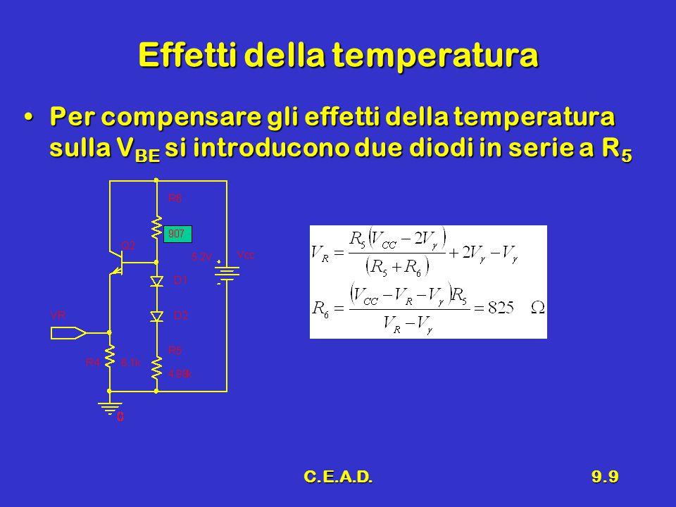 C.E.A.D.9.9 Effetti della temperatura Per compensare gli effetti della temperatura sulla V BE si introducono due diodi in serie a R 5Per compensare gli effetti della temperatura sulla V BE si introducono due diodi in serie a R 5