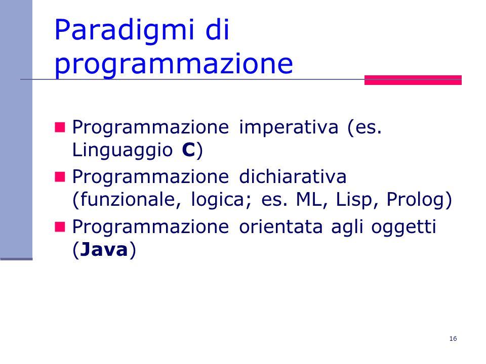 16 Paradigmi di programmazione Programmazione imperativa (es.