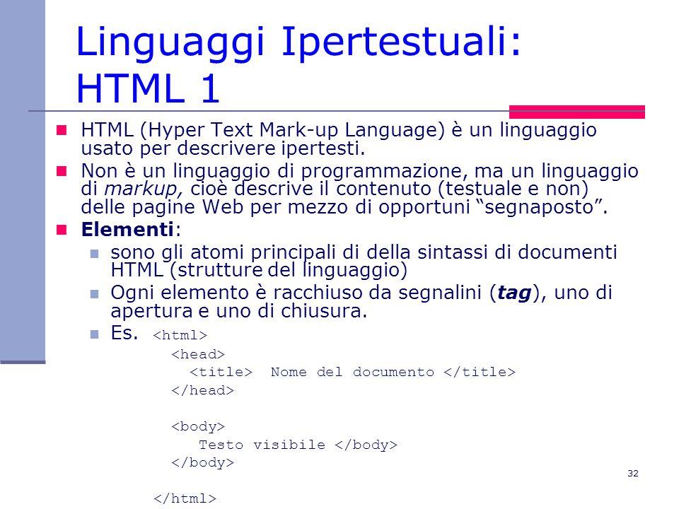 32 Linguaggi Ipertestuali: HTML 1 HTML (Hyper Text Mark-up Language) è un linguaggio usato per descrivere ipertesti.