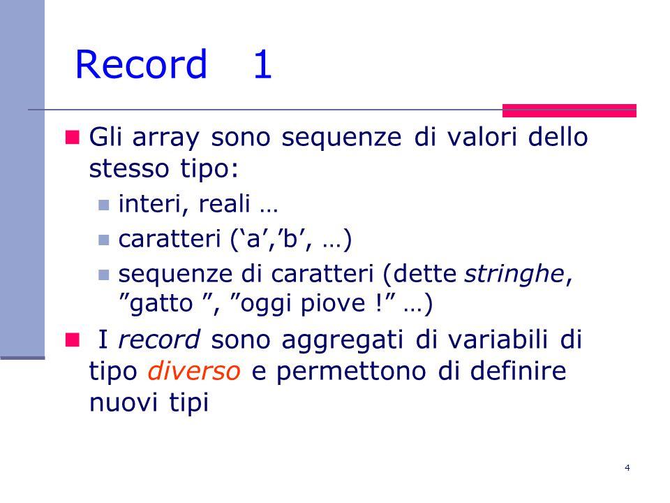 4 Record 1 Gli array sono sequenze di valori dello stesso tipo: interi, reali … caratteri ('a','b', …) sequenze di caratteri (dette stringhe, gatto , oggi piove ! …) I record sono aggregati di variabili di tipo diverso e permettono di definire nuovi tipi
