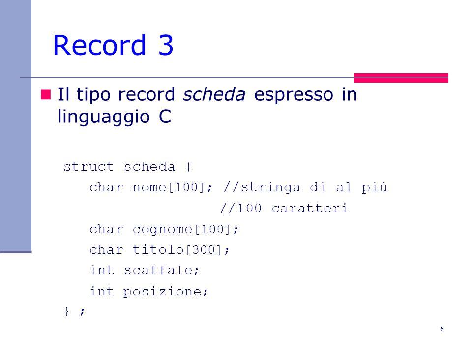 6 Record 3 Il tipo record scheda espresso in linguaggio C struct scheda { char nome [100]; //stringa di al più //100 caratteri char cognome [100]; char titolo [300]; int scaffale ; int posizione ; } ;