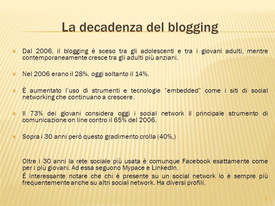 3 La decadenza del blogging  Dal 2006, il blogging è sceso tra gli adolescenti e tra i giovani adulti, mentre contemporaneamente cresce tra gli adulti più anziani.