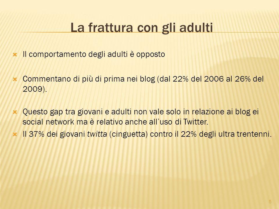 5 La frattura con gli adulti  Il comportamento degli adulti è opposto  Commentano di più di prima nei blog (dal 22% del 2006 al 26% del 2009).