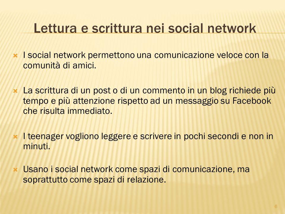 6 Lettura e scrittura nei social network  I social network permettono una comunicazione veloce con la comunità di amici.