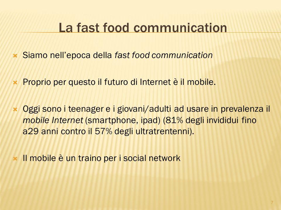 7 La fast food communication  Siamo nell'epoca della fast food communication  Proprio per questo il futuro di Internet è il mobile.