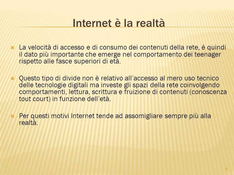 8 Internet è la realtà  La velocità di accesso e di consumo dei contenuti della rete, è quindi il dato più importante che emerge nel comportamento dei teenager rispetto alle fasce superiori di età.