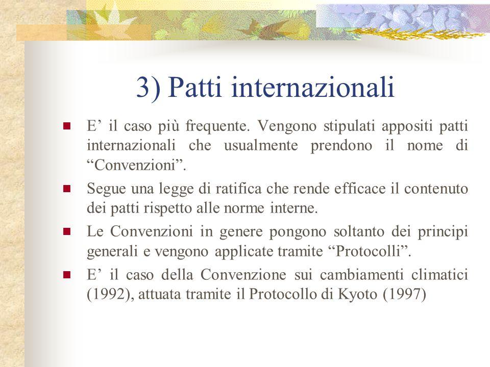 """3) Patti internazionali E' il caso più frequente. Vengono stipulati appositi patti internazionali che usualmente prendono il nome di """"Convenzioni"""". Se"""
