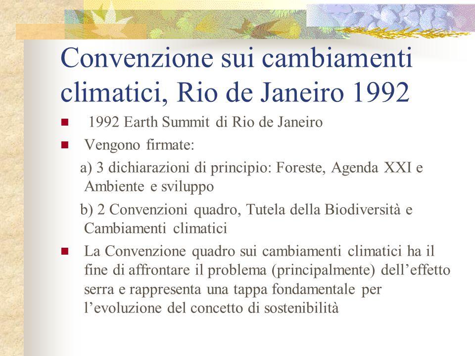 Convenzione sui cambiamenti climatici, Rio de Janeiro 1992 1992 Earth Summit di Rio de Janeiro Vengono firmate: a) 3 dichiarazioni di principio: Fores