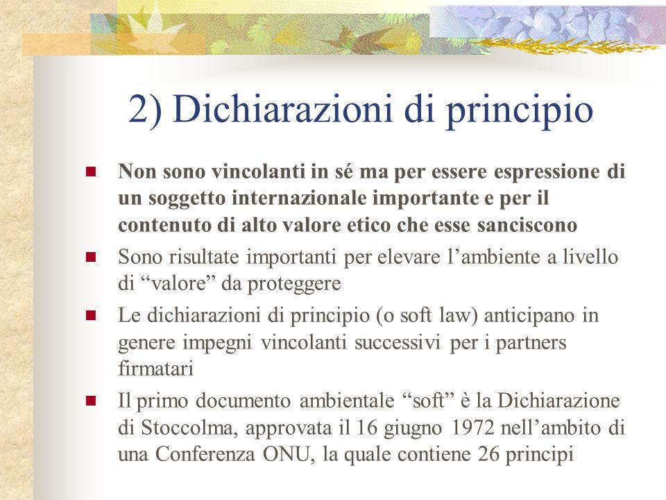 2) Dichiarazioni di principio Non sono vincolanti in sé ma per essere espressione di un soggetto internazionale importante e per il contenuto di alto